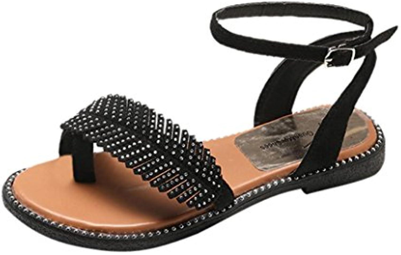 tongs sandales pour femmes jamicy rétro design feuilles summer round pieds antidérapants feuilles design chaussures plates boucle sangle occasionnel 35b724