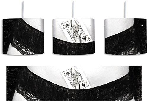 Spielkarte in Damenunterhose Kohle Effekt inkl. Lampenfassung E27, Lampe mit Motivdruck, tolle Deckenlampe, Hängelampe, Pendelleuchte - Durchmesser 30cm - Dekoration mit Licht ideal für Wohnzimmer, Kinderzimmer, Schlafzimmer