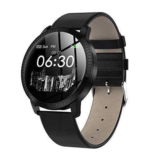 ZIXUAP Farbe Bildschirm Smart Armband, Metall runden Bildschirm wasserdicht Erinnerung Sport Schritt Mode Uhr Herzfrequenz und Schlaf Schrittzähler Fitness Tracking Watch für iOS Android-Handy-Black