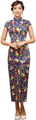 Eyekepper Frauen Schluesselloch mit Blumenmuster Party Kleid chinesische Qipao Cheongsam Blau