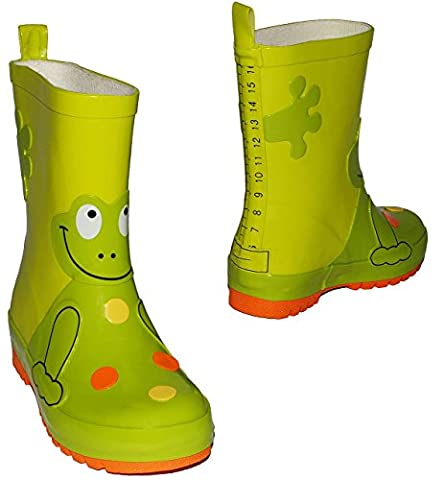 Gummistiefel - Frosch in neon grün - Größe 27 - für Kinder / Jungen & Mädchen - Naturkautschuk + Innenfutter Baumwolle / Handbemalt mit 3-D Effekt - Frösche grüne - Regenstiefel aus Naturgummi