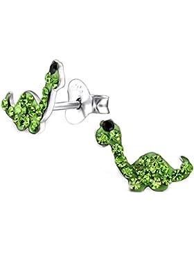 SL-Silver Ohrringe Kinderohrringe kleiner Dino Kristall 925 Silber