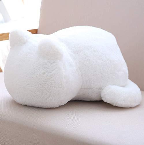 Tossi Almohada de Gato Lindo Muñeca de Peluche Suave Cojin Decorativo Sofá, White