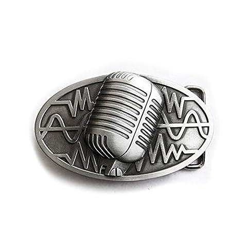 eeddoo® Gürtelschnalle - Mikrofon (Buckle für Wechselgürtel für Damen und
