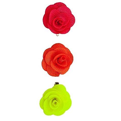 Lux Accessoires Pinces Fleurs en tissu vert corail (Lot de 3)