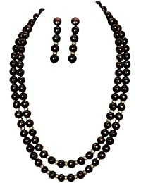 Classique Designer Silver Alloy With Gold Plated Round Pearl Necklace Set For Women(CP023)