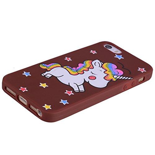 Per iPhone 5 / 5S / SE Cover , YIGA nero unicorno Silicone Morbido TPU Case Shell Caso Protezione Custodia per Apple iPhone 5 / 5S / SE brown