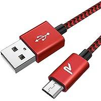 Cable Micro USB Carga Rápida 6.5 pies / 2m Rampow® 2.4A Cable USB para cargar Trenzado a tejido Sin Enredos GARANTÍA DE POR VIDA - Sincro y carga usb para dispositivos Android, Samsung Galaxy, Kindle, TCL, Sony, Nexus, Motorola, Sprint y más- Rojo
