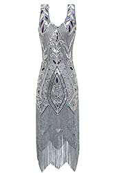 Metme Women's 1920s Vintage Flapper Fringe Beaded Great Gatsby Party Dress (Xl, Grey)