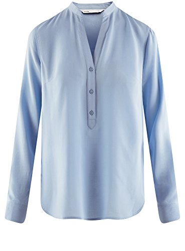 oodji Collection Damen Viskose-Bluse Basic Blau (7000N)