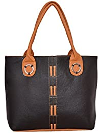 Desi Satchels Daily Use Handbags For Working Women, Girls & Ladies (Black Handbags With Middle Double Mustard...