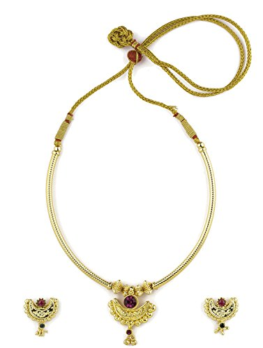 Womens Trendz Traditional Handmade Jewellery Chand Paip Thushi 24K Gold Plated Alloy Necklace and Earring Set for Women and Girls  available at amazon for Rs.660