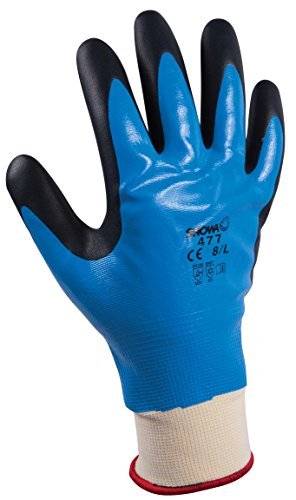 Showa Polyester Nylon Support Mesh Multipurpose Gloves, Interior Acrylic Fully Coated, Additional Nitrilee Foam Palm Lined Curtain, Blue, L/ 8, blue, 1