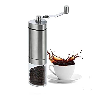 Amazefan Manual Coffee Grinder, Conical Burr Mill, Brushed Stainless Steel &Glass