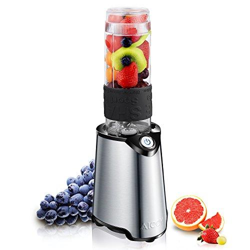 Aicok Smoothie Maker Set | Standmixer | Edelstahl | Mini Mixer | Blender Mixer | To Go 570ml Flasche BPA Frei Aus Tritan | Smoothies, Shakes, Baby-Nahrung usw | Für Reise, Sport | 300 W