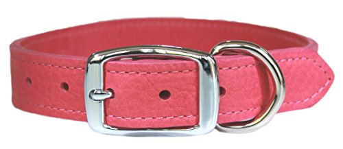 Leather Brothers Luxury Very Soft Leather Dog Collar, 35 cm, Flamingo Pink 1