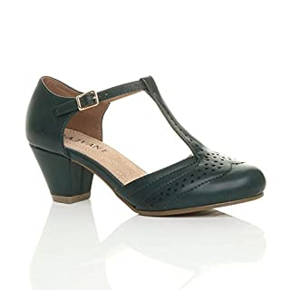 Ajvani Womens Ladies mid Block Heel t-bar Cut Out Buckle Brogue Shoes Sandals Size 3 36