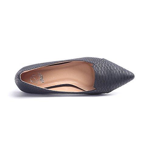 Alexis Leroy Damen Geschlossene Ballerinas Spitze Schuhe Schlangenhaut Muster Schwarz