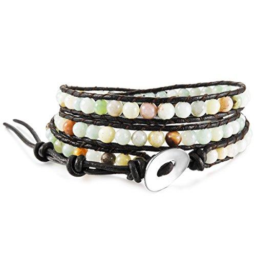 Munkimix lega vera pelle lega bracciali bracciale braccialetto bangle polsino corda amazzonite pietra perline 3 avvolgere regolabile uomo,donna