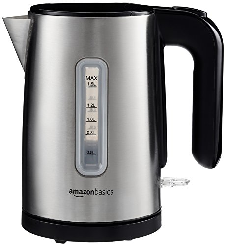 AmazonBasics - Hervidor eléctrico (1,5 L, acero inoxidable cepillado)