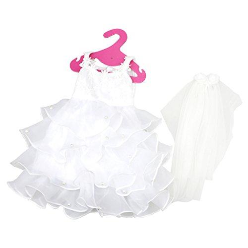Sharplace Elegante Weiße Puppen Brautkleid Kleidung mit Schleier Für 18 Zoll American Girl (Princess Dress Up Kleidung)