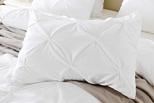 Plissee-Kissenbezug, Fadenzahl 680, 100% ägyptische Baumwolle, dekorativer Kissenbezug mit Biesenmuster (2 Stück) Standard 20''x26'' White Solid -