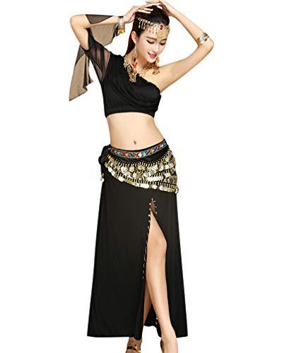 Tianbin le donne gonna lunga split per la danza del ventre costume una spalla canotte cintura catena (viola#4, taglia unica)
