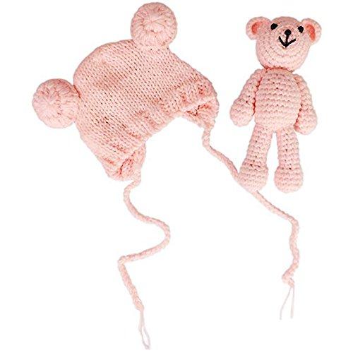 Jastore Neugeborenen Fotoshooting Kostüm Junge Mädchen Bär Mützen Fotographie Prop Crochet Geschenk Baby Kleidung neuborn (Pink)