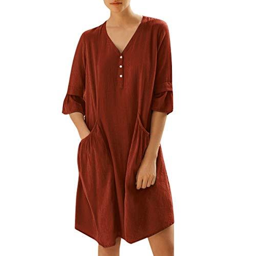 Nyuiuo Sommerkleid Frauen einfarbig V-Ausschnitt Langarm Kleid Mode einfarbig Knopf Tasche schlank lose Minikleid lässig einfarbig halbe Ärmeltasche Kleid -