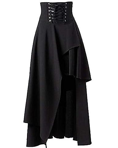 Damen Elegant Gothic Lolita Unregelmaessiger Verbandkleid Slim Fit Maxirock Schwarz XXL