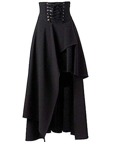 SaiDeng para Mujer Lolita Gótico del Vendaje De La Falda Maxi Negro M