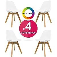Silla Nórdica (Pack 4) - Silla escandinava One Blanca - silla nordic scandi inspirada en silla eames dsw - Mona - (Elige tu color)
