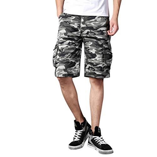 Funky Herren Outdoor Shorts Camouflage Arbeitshose Sport Hosen Tasche PPangUDing Freizeitshorts Cargo Bermuda Stretch Fitness Schnell Trocknende Laufshor (XL, Blau) (Trainingshose Funky)
