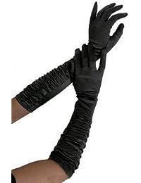 krautwear®–Guantes para mujer Punta Noche de codos largo Guantes gerafft novia corta lazo de raso negro rojo blanco