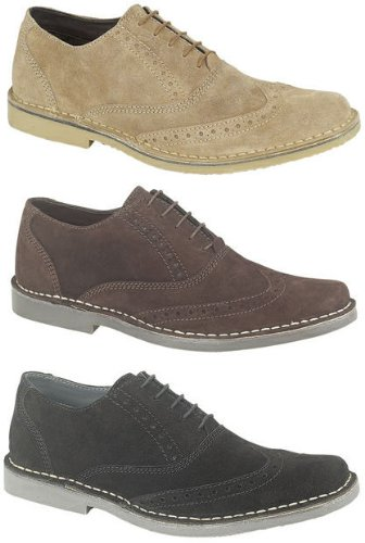Mens Roamers Suede Leather Desert Brogues Shoes BEIGE SIZE 8