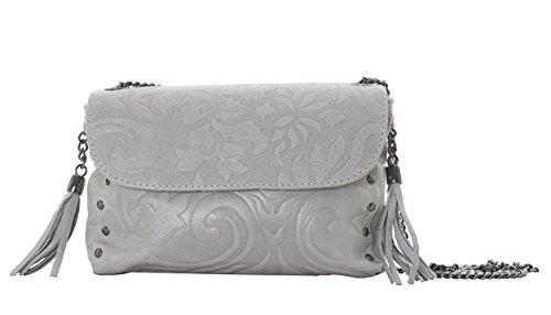 MASSIMA BARONI- Fleur de Lis Frauentasche aus Leder. Italienisches Umhängetasche modell GIGLIO. Sie können es aus als Schultertasche tragen. Cross Body Bag mit exklusivem Design. 2018 Saison. (graue) - Damen-fleur De Lis