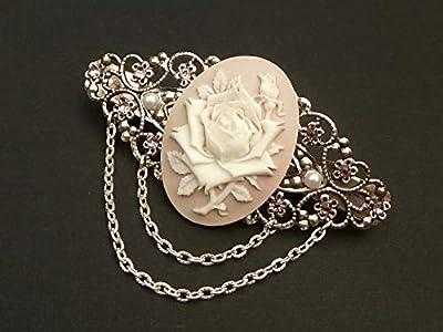 Pince à cheveux camée avec rose en argent blanc rose