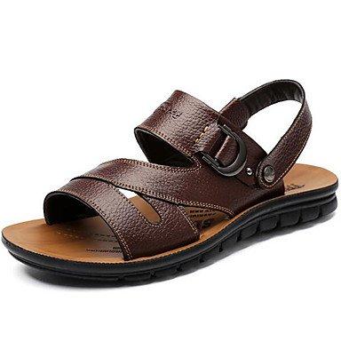 Sandalen Frühling Sommer Herbst Komfort Rindsleder Outdoor Casual Schwarz braunes Wasser Schuhe Dark Brown