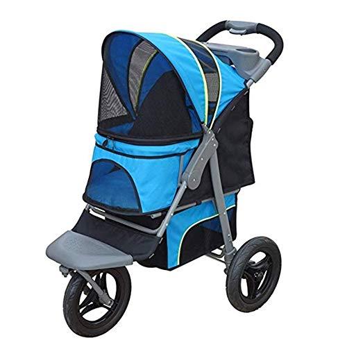 LMCWSTC Easy Fold Pet Stroller (Hundewagen, Leichter zusammenklappbarer Haustierwagen) mit Aufbewahrungskorb und Getränkehalter, ideal for Reisen oder Übernachtungen (Color : Blue)
