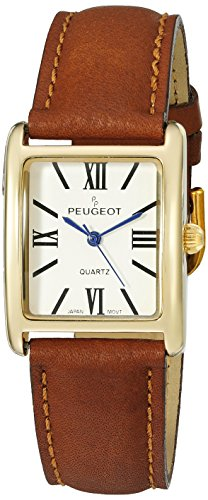 peugeot-womens-14k-gold-plated-tank-roman-numeral-band-quartz-stainless-steel-and-leather-dress-watc