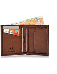 Donbolso Slim Wallet Rom Leder Herren Schwarz-Braun