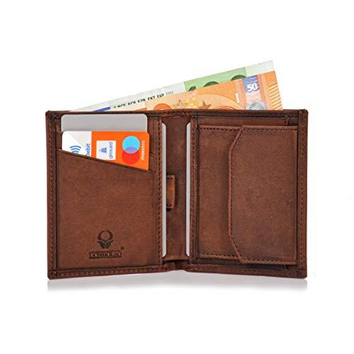 Klein Leder (Donbolso Leder Geldbörse Rom - Geldbeutel klein mit RFID Schutz - Mini Portemonnaie für Herren und Damen - Slim Wallet mit Münzfach - Braun)