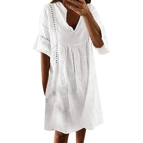 Sannysis Sommerkleid Damen Mode Strandkleid Boho Kleid A-Linie Festliche Kleider Sexy Party Cocktailkleid Vintage Abend Partei Minikleid (XL, Weiß) -