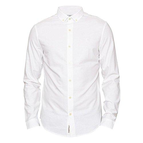 Original Penguin Spazzolato Camicia Oxford Manica Lunga Uomo L Bright White