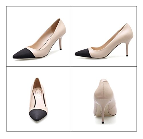 ALUK- Printemps - tempérament pointu bouche superficielle avec des chaussures coréennes occasionnels ( couleur : Apricot color , taille : 38 ) Apricot color