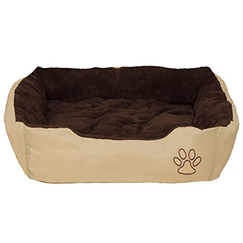 TecTake Hundebett 80 x 60 x 18cm Hundekissen Hundesofa Schlafbett braun