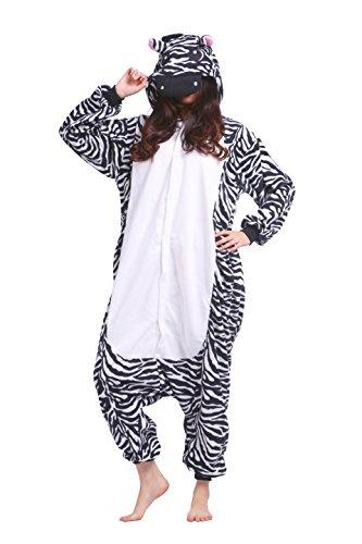 Magicmode Unisex Tiere Strampelanzug Schlafanzug Flanell Anime Cosplay Kostüm Kigurumi Hoodie Nachtwäsche Nachthemd Zebra L (Zebra Kostüme Für Frauen)