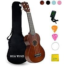 Hua Wind Ukelele soprano hawaiiano 21 pulgadas para principiantes 4 cuerdas kit de funda, afinador, púas,funda, cuerdas extras