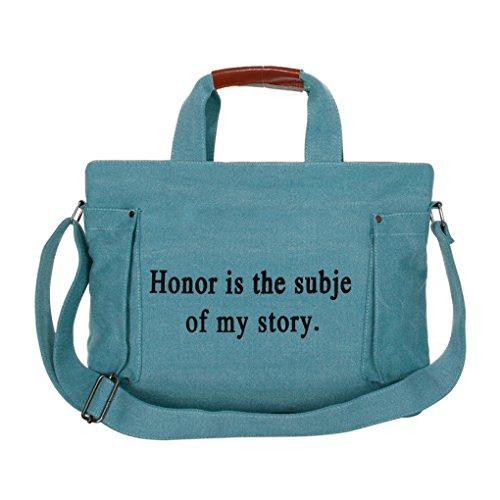 FakeFace Modische Damen Canvas Tasche Schultertasche Schulranzen Umhängetasche Henkeltasche Damentasche Segeltuch Leinen Bag mit Große Kapazität,Armeegrün Blau