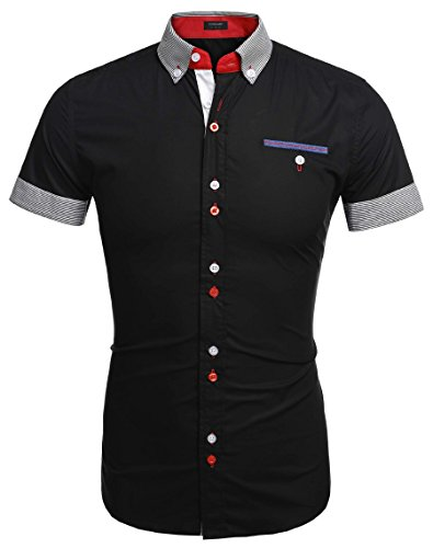 Coofandy Mens Casual Short Sleeve Button Down Shirt With Stripe Trim